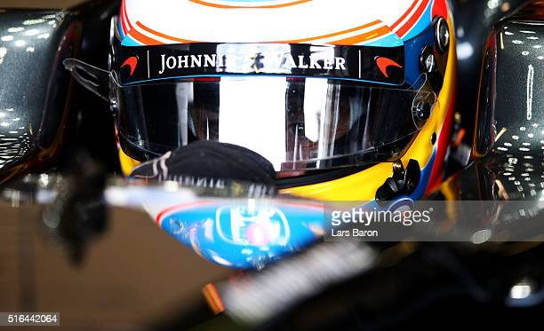 Fernando Alonso of Spain and McLaren Honda in the garage during qualifying for the Australian Formula One Grand Prix at Albert Park on March 19 2016...