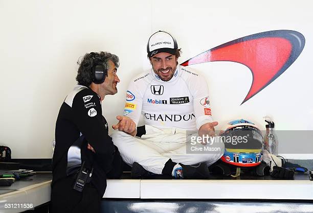 Fernando Alonso of Spain and McLaren Honda in the garage during practice for the Spanish Formula One Grand Prix at Circuit de Catalunya on May 13...