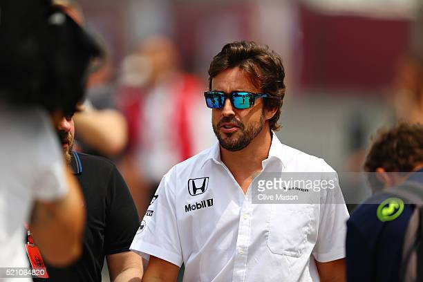 Fernando Alonso of Spain and McLaren Honda in the Paddock during previews to the Formula One Grand Prix of China at Shanghai International Circuit on...