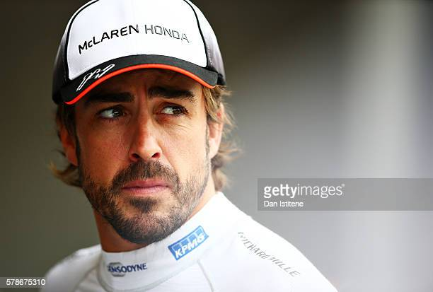 Fernando Alonso of Spain and McLaren Honda in the Pitlane during practice for the Formula One Grand Prix of Hungary at Hungaroring on July 22 2016 in...
