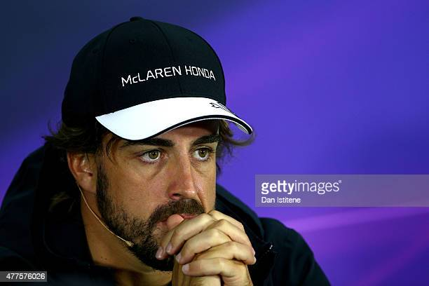 Fernando Alonso of Spain and McLaren Honda looks on in a press conference during previews to the Formula One Grand Prix of Austria at Red Bull Ring...