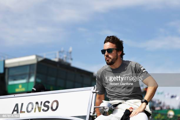 Fernando Alonso of Spain and McLaren Honda on the drivers parade before the Australian Formula One Grand Prix at Albert Park on March 26 2017 in...
