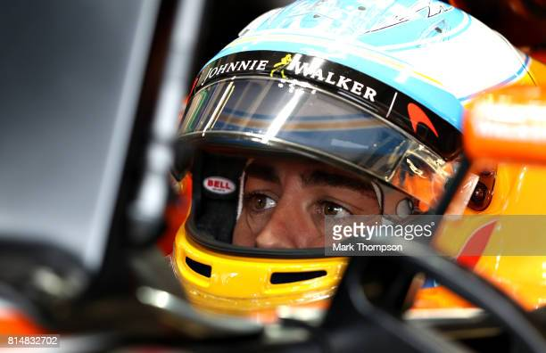 Fernando Alonso of Spain and McLaren Honda prepares to drive during final practice for the Formula One Grand Prix of Great Britain at Silverstone on...