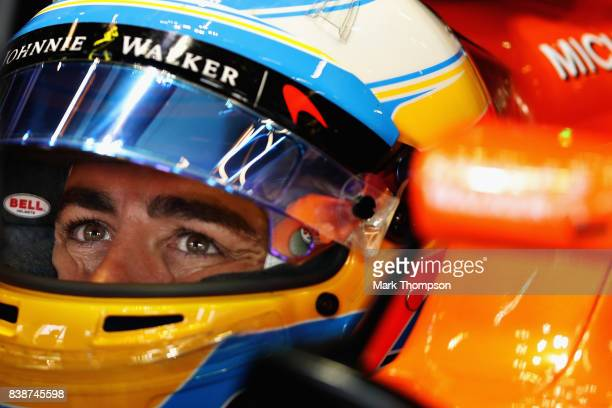 Fernando Alonso of Spain and McLaren Honda prepares to drive during practice for the Formula One Grand Prix of Belgium at Circuit de SpaFrancorchamps...