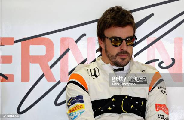 Fernando Alonso of Spain and McLaren Honda prepares to drive in the garage during practice for the Formula One Grand Prix of Russia on April 28 2017...