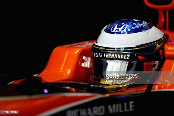 Fernando Alonso of Spain and McLaren Honda prepares to drive in the garage during practice for the Abu Dhabi Formula One Grand Prix at Yas Marina...