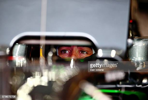 Fernando Alonso of Spain and McLaren Honda sits in his car in the garage during practice for the Formula One Grand Prix of Hungary at Hungaroring on...