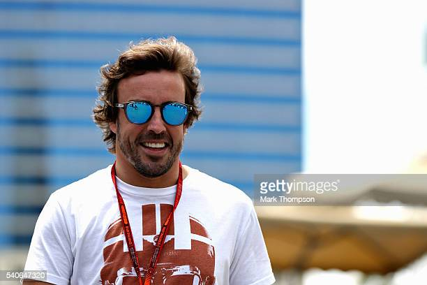 Fernando Alonso of Spain and McLaren Honda smiles in the Paddock during previews ahead of the European Formula One Grand Prix at Baku City Circuit on...