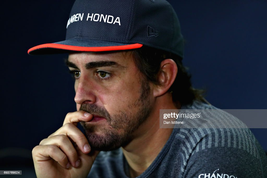 Fernando Alonso of Spain and McLaren Honda talks in the Drivers Press Conference during previews for the Canadian Formula One Grand Prix at Circuit Gilles Villeneuve on June 8, 2017 in Montreal, Canada.