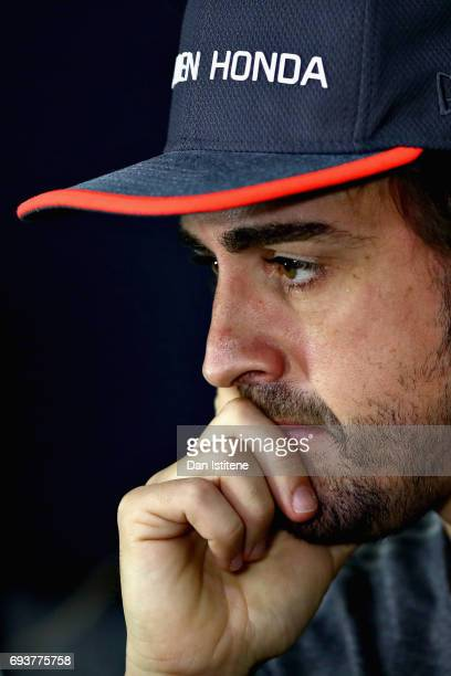 Fernando Alonso of Spain and McLaren Honda talks in the Drivers Press Conference during previews for the Canadian Formula One Grand Prix at Circuit...