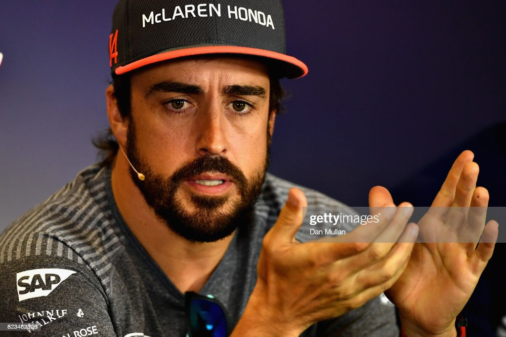 Fernando Alonso of Spain and McLaren Honda talks in the Drivers Press Conference during previews ahead of the Formula One Grand Prix of Hungary at Hungaroring on July 27, 2017 in Budapest, Hungary.