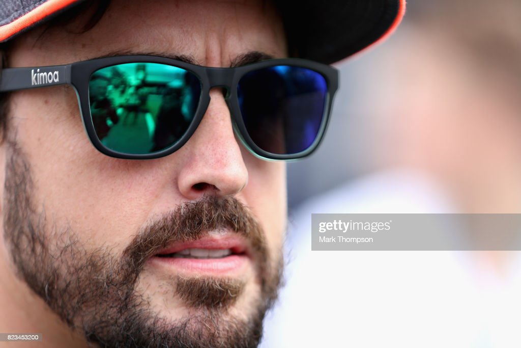 Fernando Alonso of Spain and McLaren Honda talks in the Paddock during previews ahead of the Formula One Grand Prix of Hungary at Hungaroring on July 27, 2017 in Budapest, Hungary.