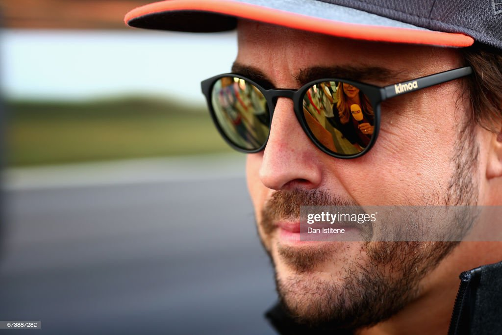 Fernando Alonso of Spain and McLaren Honda talks to the media in the Paddock during previews to the Formula One Grand Prix of Russia on April 27, 2017 in Sochi, Russia.