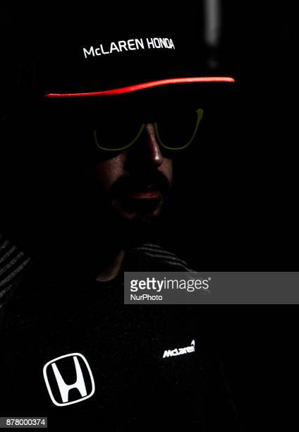 Fernando Alonso of Spain and McLaren Honda Team driver gives an interview on Formula One Etihad Airways Abu Dhabi Grand Prix on Nov 23 2017 in Yas...