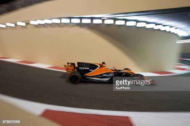 Fernando Alonso of Spain and McLaren Honda Team driver goes during the first practice at Formula One Etihad Airways Abu Dhabi Grand Prix on Nov 24...