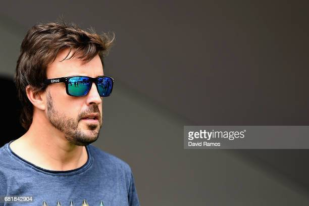 Fernando Alonso of Spain and McLaren Honda walks in the Paddock during previews for the Spanish Formula One Grand Prix at Circuit de Catalunya on May...