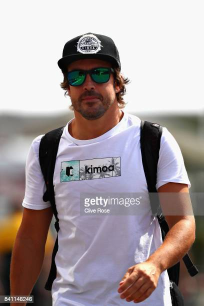Fernando Alonso of Spain and McLaren Honda walks in the Paddock during previews for the Formula One Grand Prix of Italy at Autodromo di Monza on...