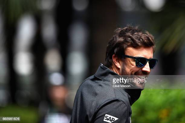 Fernando Alonso of Spain and McLaren Honda walks in the Paddock during final practice for the Formula One Grand Prix of China at Shanghai...