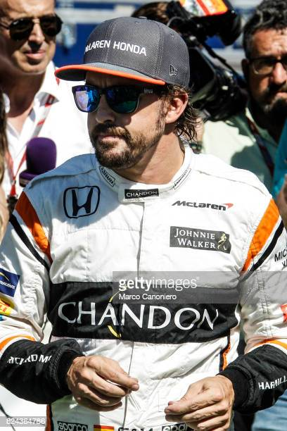 HUNGARORING BUDAPEST HUNGARY Fernando Alonso of Spain and McLaren Honda walks in the Paddock before final practice for the Formula One Grand Prix of...