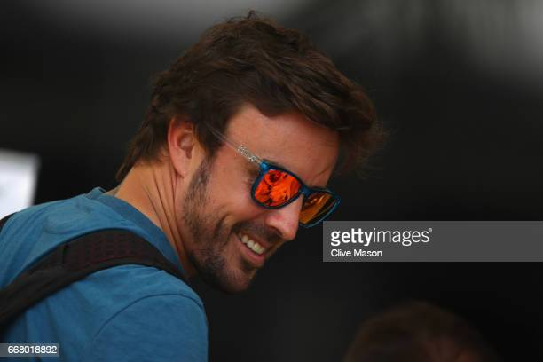 Fernando Alonso of Spain and McLaren Honda walks in the Paddock during previews to the Bahrain Formula One Grand Prix at Bahrain International...