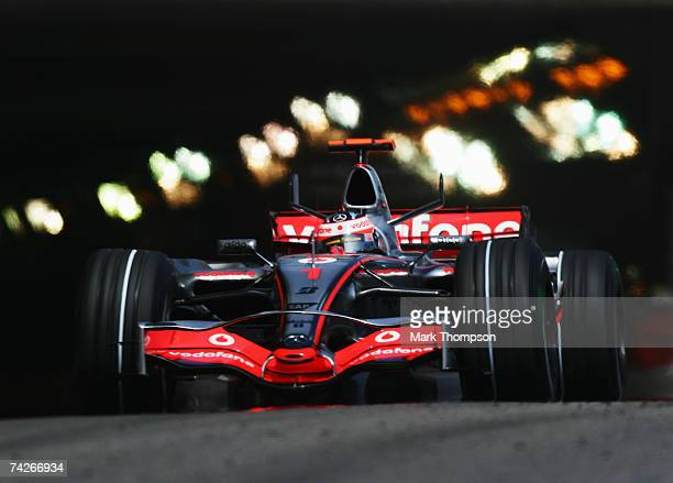 Fernando Alonso of Spain and McLaren Mercedes drives during practice for the Monaco Formula One Grand Prix at the Monte Carlo Circuit on May 24 2007...