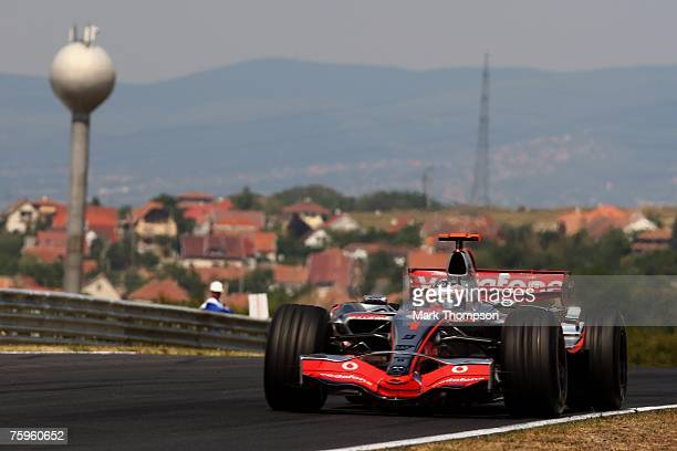 Fernando Alonso of Spain and McLaren Mercedes in action during the Hungarian Formula One Grand Prix practice session prior to Qualifying at the...