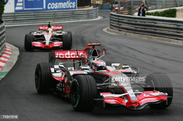 Fernando Alonso of Spain and McLaren Mercedes leads from team mate Lewis Hamilton of Great Britain and McLaren Mercedes during the Monaco Formula One...
