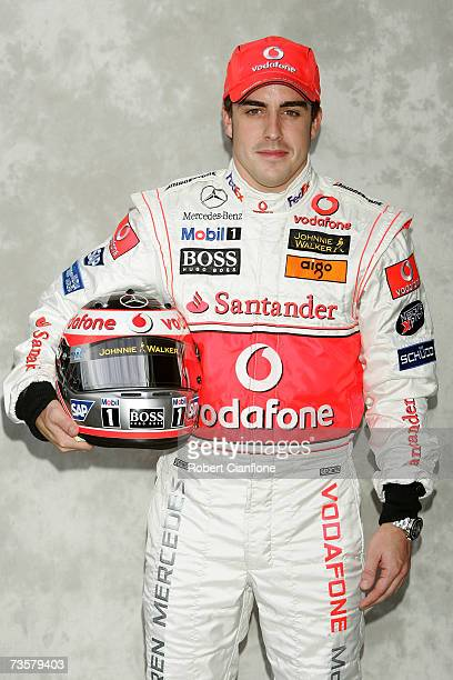 Fernando Alonso of Spain and McLaren Mercedes poses during the preseason drivers photocall ahead of the Australian Formula One Grand Prix at the...