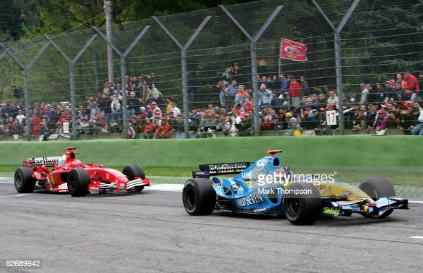 Fernando Alonso of Spain and Renault celebrates winning the San Marino F1 Grand Prix at the San Marino Circuit on April 24 in Imola, Italy.