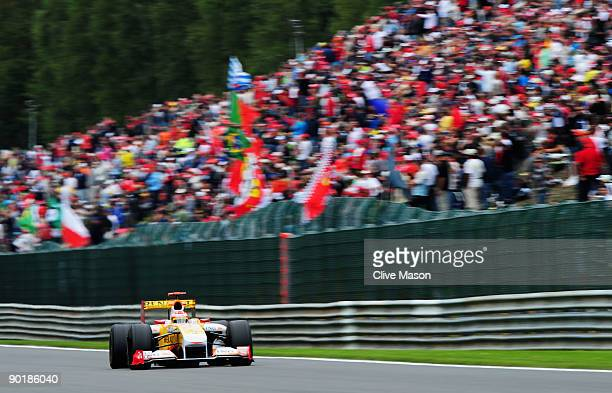 Fernando Alonso of Spain and Renault drives during the Belgian Grand Prix at the Circuit of Spa Francorchamps on August 30 2009 in Spa Francorchamps...