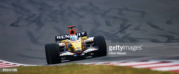 Fernando Alonso of Spain and Renault drives during the Chinese Formula One Grand Prix at the Shanghai International Circuit on October 19, 2008 in...