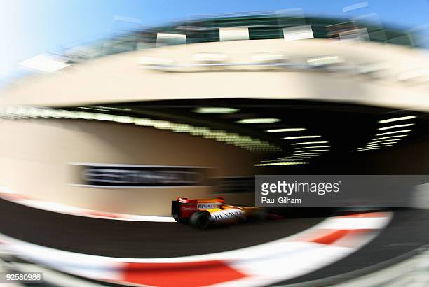 Fernando Alonso of Spain and Renault drives during the final practice session prior to qualifying for the Abu Dhabi Formula One Grand Prix at the Yas...