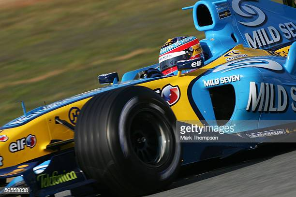 Fernando Alonso of Spain and Renault drives the new R26 during Formula One testing on January 10 2006 at the Circuito De Jerez in Jerez Spain