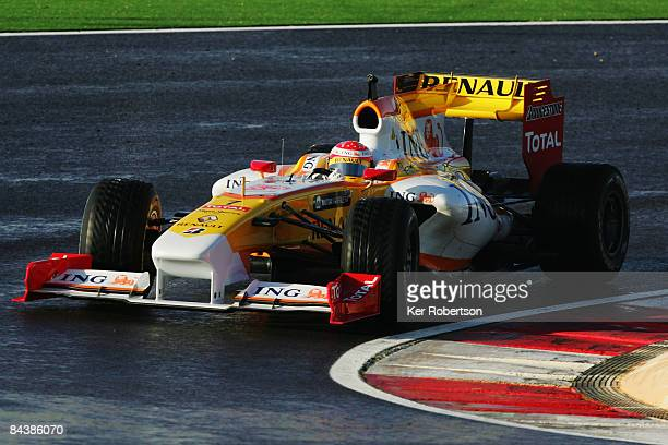 Fernando Alonso of Spain and Renault drives the new Renault R29 during Formula One winter testing at the Autodromo Internacional do Algarve on...