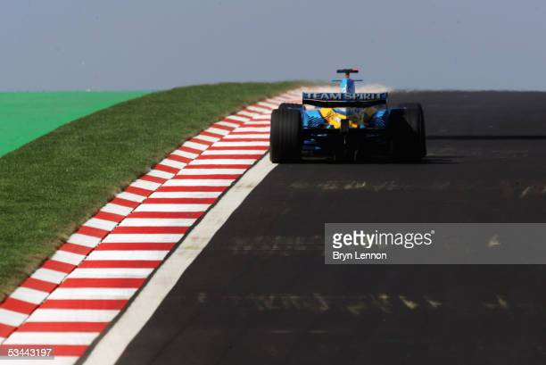 Fernando Alonso of Spain and Renault in action during practice before qualifying for the Formula One Turkish Grand Prix at Istanbul Park on August...