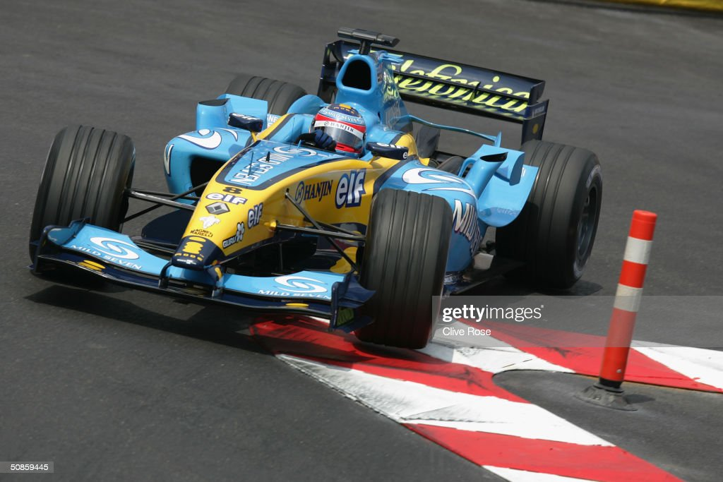 Fernando Alonso of Spain and Renault in action during practice for the Monaco F1 Grand Prix on May 20, 2004, in Monte Carlo, Monaco.