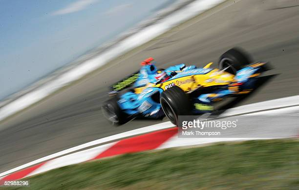 Fernando Alonso of Spain and Renault in action during Practice for the European Formula One Grand Prix at the Nurburgring on May 27, 2005 in Nurburg,...