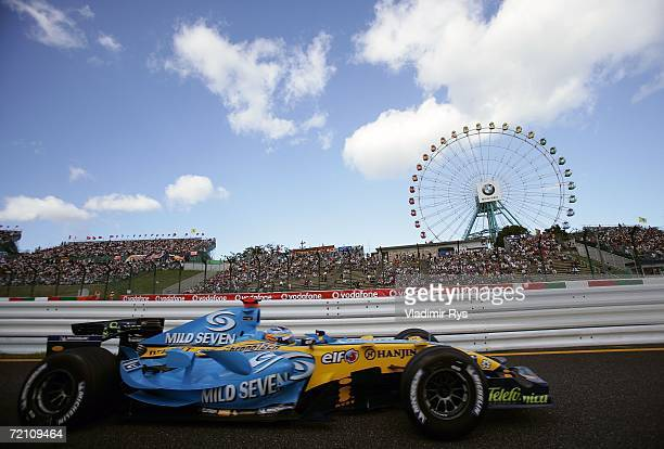 Fernando Alonso of Spain and Renault in action during qualifying for the Japanese Formula One Grand Prix at the Suzuka Circuit on October 7 2006 in...