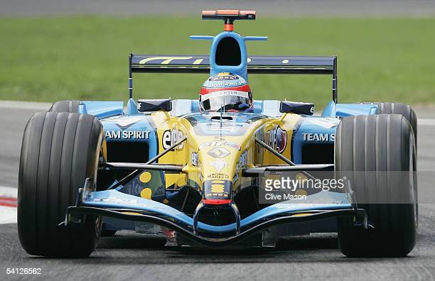 Fernando Alonso of Spain and Renault in action during the practice session for the Italian F1 Grand Prix at the Autodromo Nazionale di Monza Circuit...