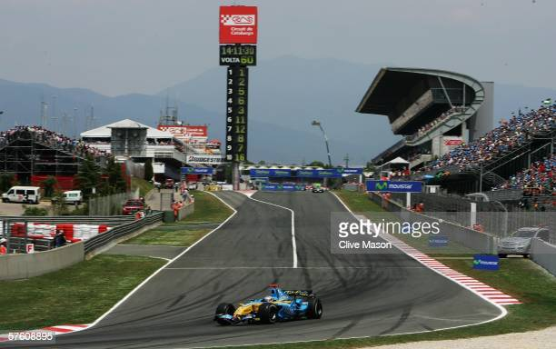 Fernando Alonso of Spain and Renault in action during the Spanish Formula One Grand Prix at the Circuit De Catalunya on May 14 in Barcelona, Spain.