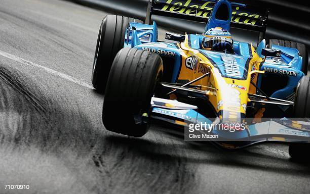 Fernando Alonso of Spain and Renault in action on his way to winning the Monaco Formula One Grand Prix at the Monte Carlo Circuit on May 28 in Monte...