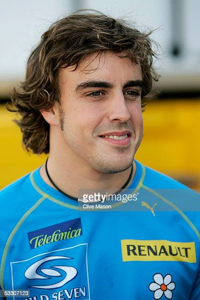 Fernando Alonso of Spain and Renault in the paddock after qualifying for the Hungarian F1 Grand Prix at the Hungaroring on July 30 2005 in Budapest...
