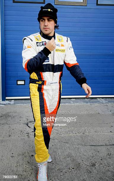 Fernando Alonso of Spain and Renault in the pits during Formula One Testing at the Circuito de Jerez racetrack on January 15, 2008 in Jerez De La...