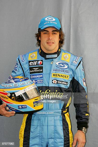 Fernando Alonso of Spain and Renault prior to the Bahrain Formula One Grand Prix at the Bahrain International Circuit on March 9 in Sakhir Bahrain