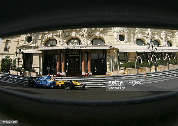 Fernando Alonso of Spain and Renault seen in action during practice session prior to qualifying for the Monaco F1 Grand Prix on May 21 in Monte...