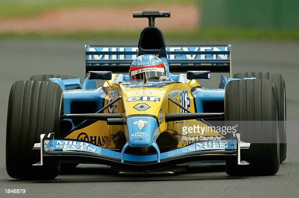 Fernando Alonso of Spain and the Renault F1 Team in action during practice for the Fosters Australian Formula One Grand Prix at Albert Park in...