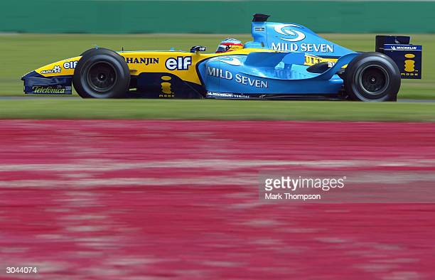 Fernando Alonso of Spain and the Renault Formula One Team in action during practice for the 2004 Australian Grand Prix which which is round one of...
