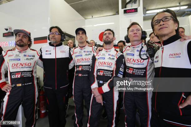 Fernando Alonso of Spain and Toyota Gazoo Racing Hisatake Murata Toyota Gazoo Racing President Sebastien Buemi of Switzerland and Toyota Gazoo Racing...