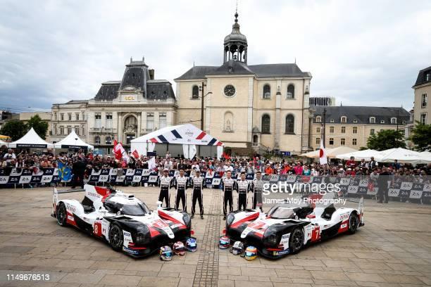 Fernando Alonso of Spain and Toyota Gazoo Racing; Kamui Kobayashi of Japan and Toyota Gazoo Racing; Sebastien Buemi of Switzerland and Toyota Gazoo...