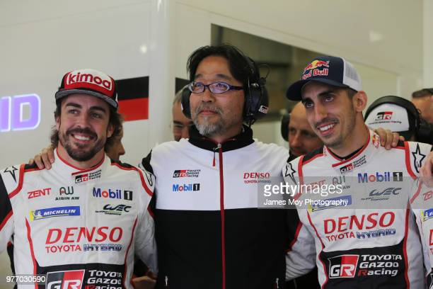 Fernando Alonso of Spain and Toyota Gazoo Racing with Hisatake Murata of Japan and Toyota Gazoo Racing President and Sebastien Buemi of Switzerland...